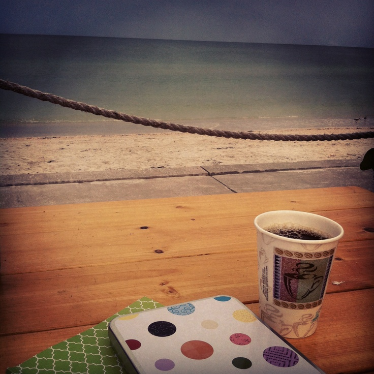 Journaling while having a cup of coffee at the beach ... ahhhhhh