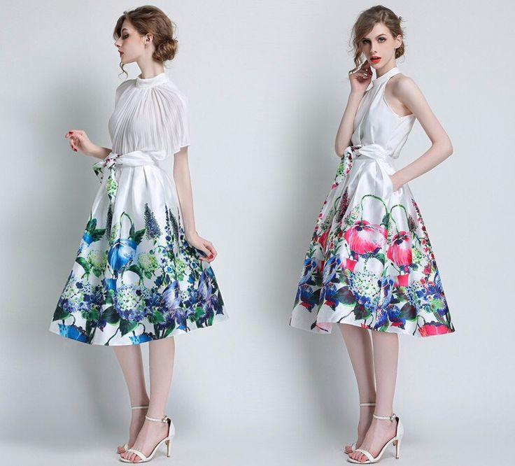 2015 Autumn Skirt High Waisted Bubble Skirts Floral Print For Women Ball Gown…