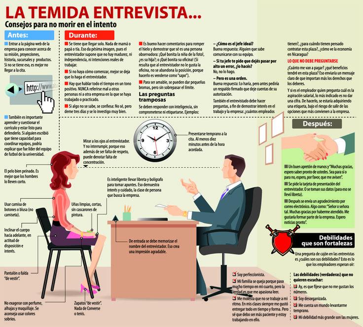 Cómo no morir en una entrevista de trabajo #infografia #infographic
