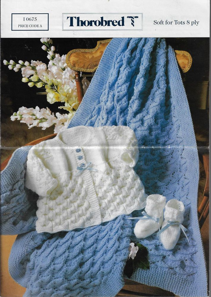 Baby Matinee Jacket Booties Shawl Thorobred 10675 Knitting Pattern