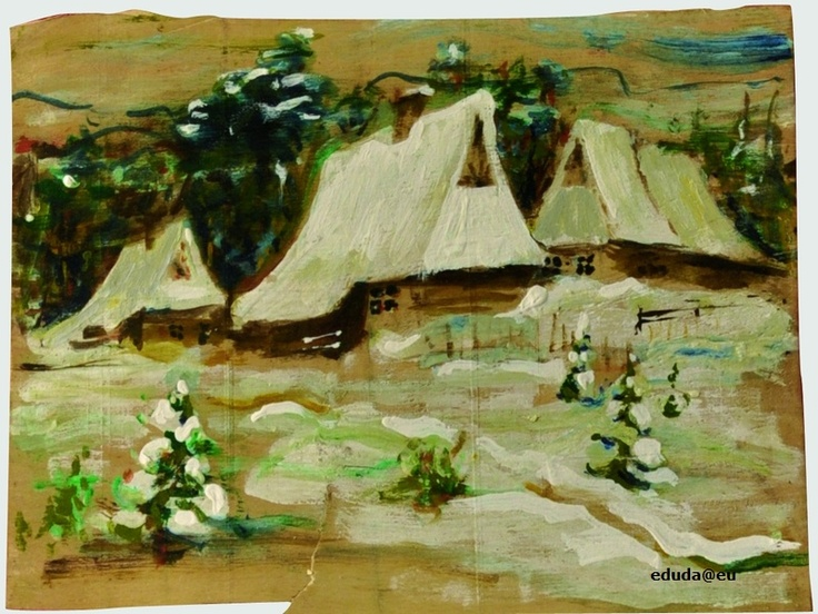 """Chaty w śniegu"" / ""Cottage in the snow"" 36x48 cm"