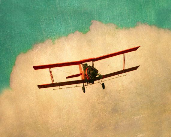 Vintage Airplane Art Print - Nursery Biplane Aqua Red Boy Room Wall Art Aviation Flying Clouds Sky Plane Photography. $25.00, via Etsy.