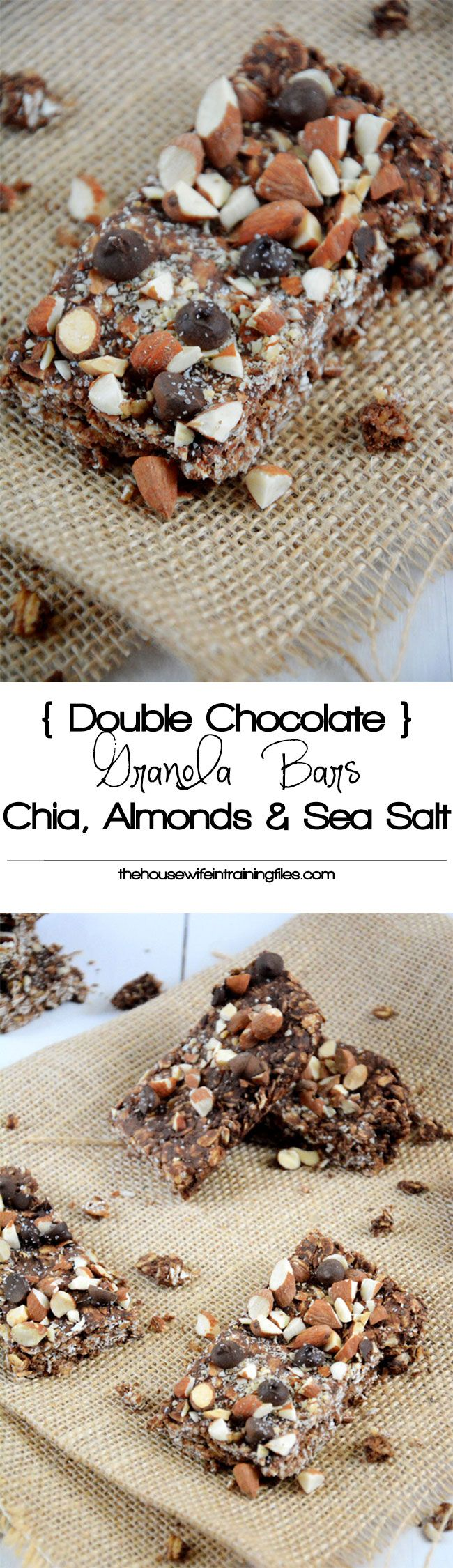 A homemade chocolate granola bar filled with double chocolate, cinnamon and chia seeds! No need to buy store bought as these bars are ready in under 30 minutes!