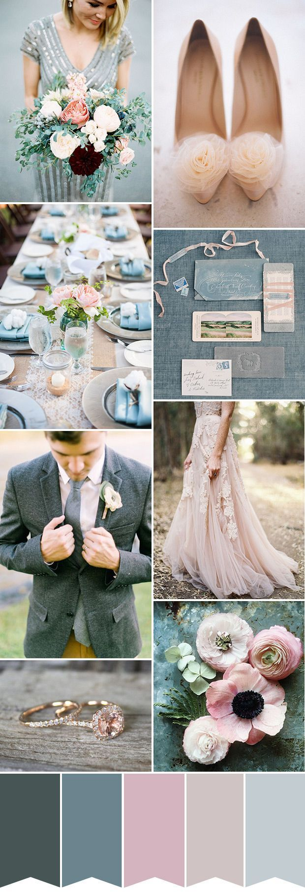 Baby Pink and Grey Colour Palette | See more wedding inspiration at http://www.onefabday.com