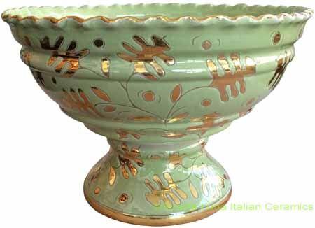 Tuscan Centerpiece Pedestal Bowl - Light Green/Gold Scalloped