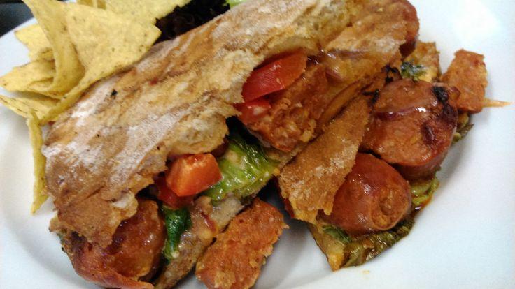 La Mula Obstinada, our epic Chorizo, red pepper & mixed leaves Ciabatta