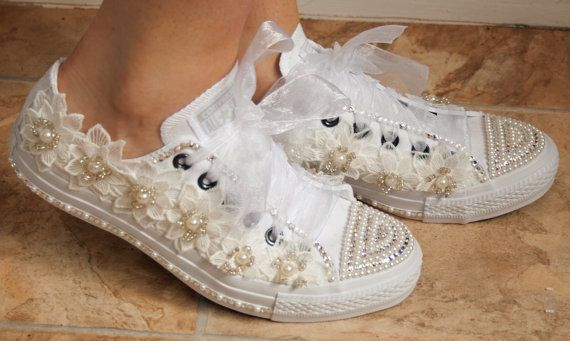 wedding converse trainers with lace crystals and pearls. Wedding trainers, wedding converse, bridal Converse, customized wedding converse