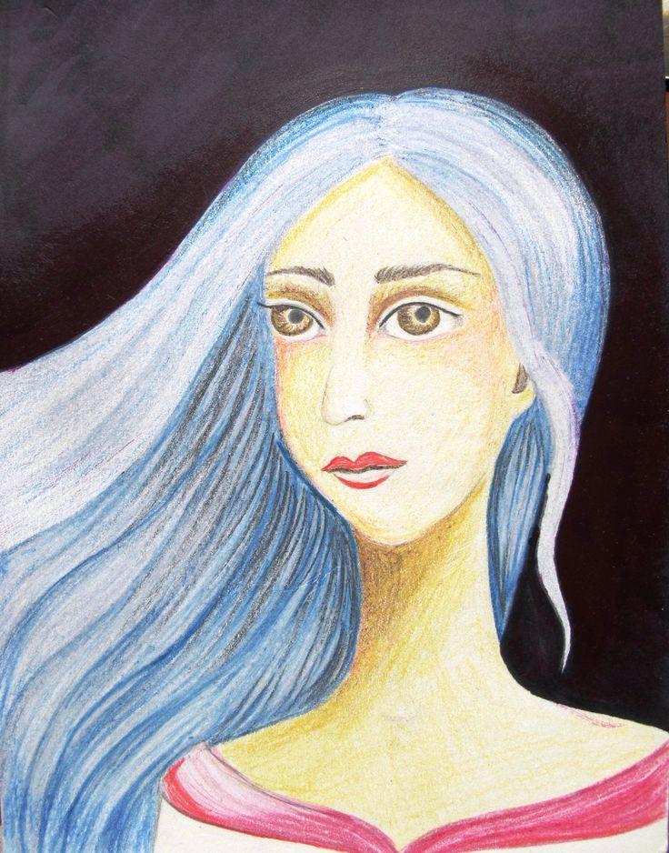 coloured pencil, portrait
