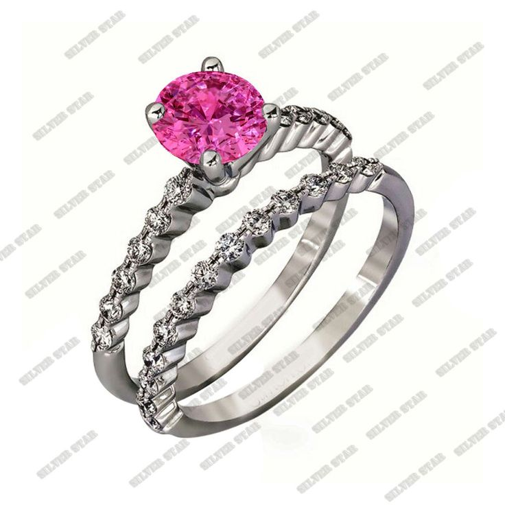 Engagement Wedding Band Bridal Ring Pink Sapphire & White CZ 925 Sterling Silver #SilverStarGemsJewelry