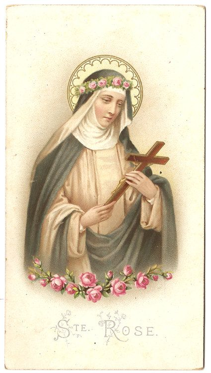 St. Rose of Lima with Cross & Pink Roses Antique by 12StarsVintage