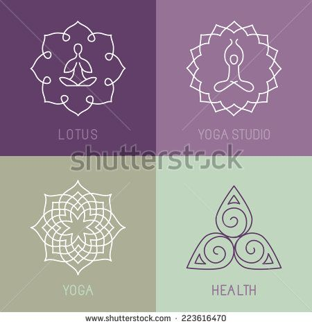Vector yoga icons and round line badges - graphic design elements in outline style  or logo templates for spa center or yoga studio - stock vector
