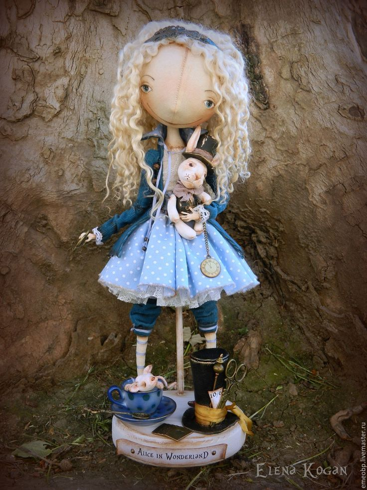 Купить Alice in Wonderland - голубой, алиса, Кэролл, alice, елена коган, белый кролик