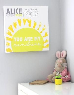You are my sunshine footprints on canvas - Add your baby's footprints - 16x16 - Nursery art by aurelia