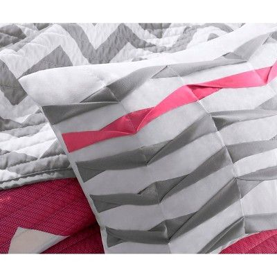 Leo 4 Piece Quilted Coverlet Set - Pink (Full/Queen)
