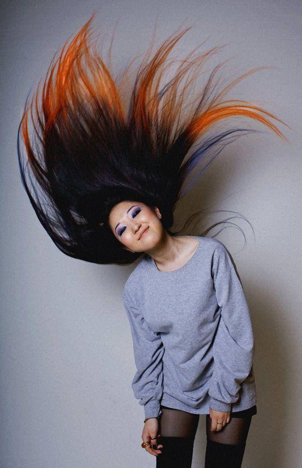 Orange tipped hair