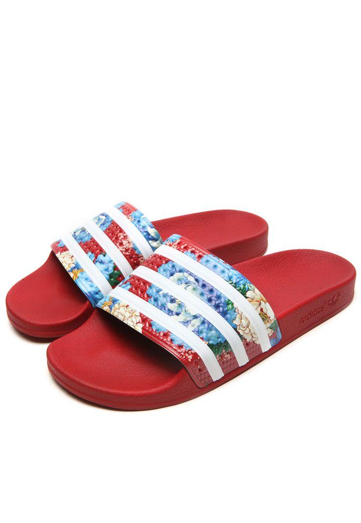 Chinelo Slide adidas Originals   FARM Adilette Vermelho/Azul - Marca adidas Originals