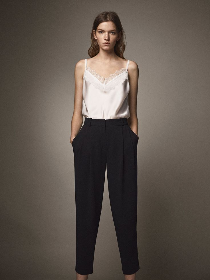 Fall Winter 2017 Women´s SILK TOP WITH LACE AND GROSGRAIN DETAIL at Massimo Dutti for 49.5. Effortless elegance!