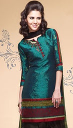 Deep teal and dark coffee brown jacquard crepe salwar kurta is with self-woven design and embroidered motifs with printed and brocade patchwork borders.