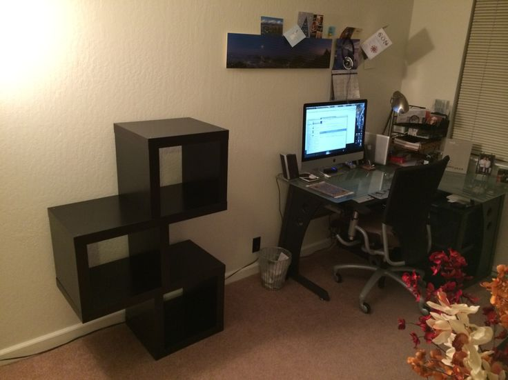 Furniture:Small Office Space In The Nook With L Shped Computer Desk And Stylish Swivel Chair With Black Lacquered Cube Wall Shelves Ikea Design Idea On The Beige Rug Comfy Interior with Cube Wall IKEA Shelf for Neat Storage