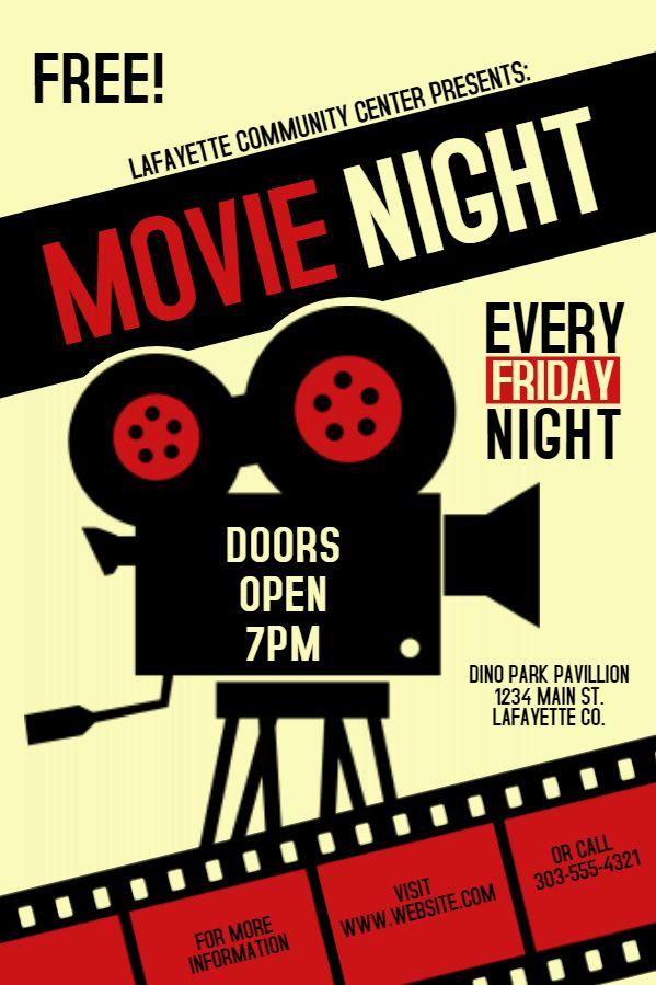 movie night society invitation poster flyer social media template