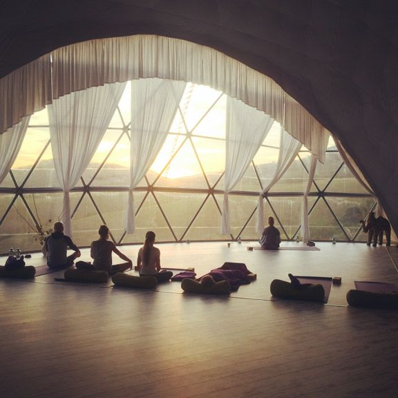 Suryalila morning meditation in a Pacific Domes retreat centre located in Spain.
