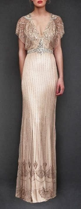 Jenny Packham sequins cream dress would look beautiful for a #Gatsby #wedding theme at the #castle.