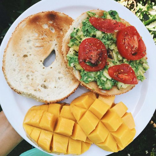 happydonehealthy Drove to work today only to find out I wasn't teaching  Oh well, I went home and made myself some good food  Bagels with avocado are life