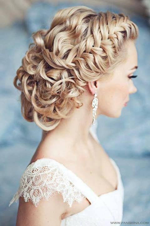 Beautiful loose fishtail braid slicked back into a curly loose bun. #beautiful #braid #curls #hair #bride #gorgeous http://www.cinderella4aday.com