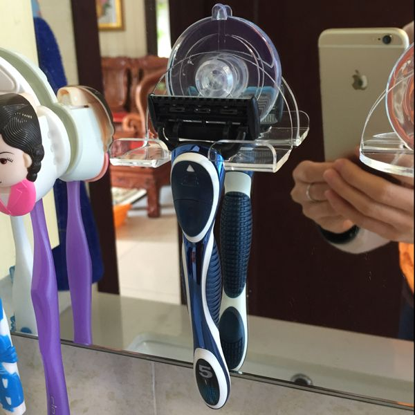 Plastic Suction Cup Shaver Holder Hanger Light Blue ,New Garbath Bathroom  Kitchen Adhesive Double Hooks