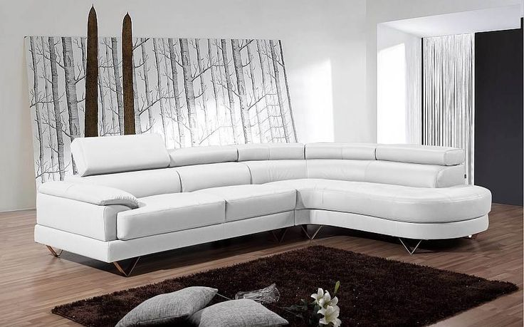 Corsica lounge with a round corner chaise, White
