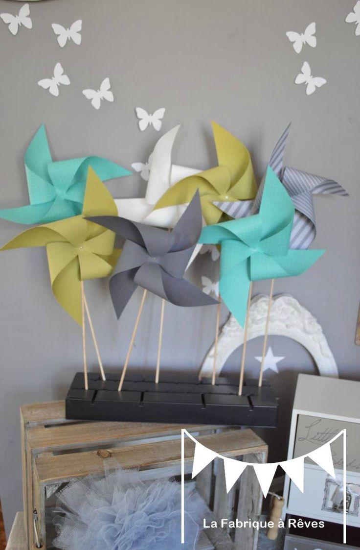 1000 id es propos de moulins vent de papier sur - Vert anis et gris ...