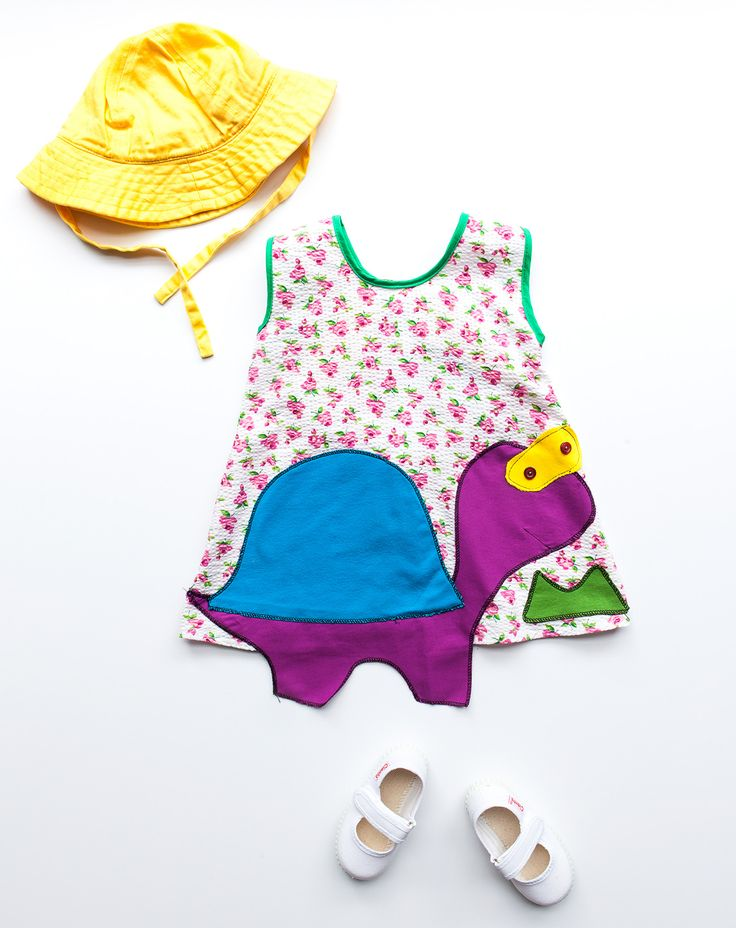 children appliqué cotton dress / handmade / athens greece