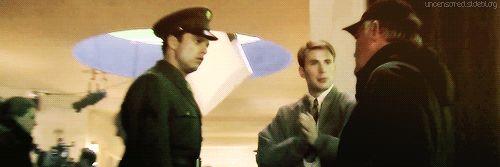 Chris Evans and Sebastian Stan on the set of Captain America: The First Avenger