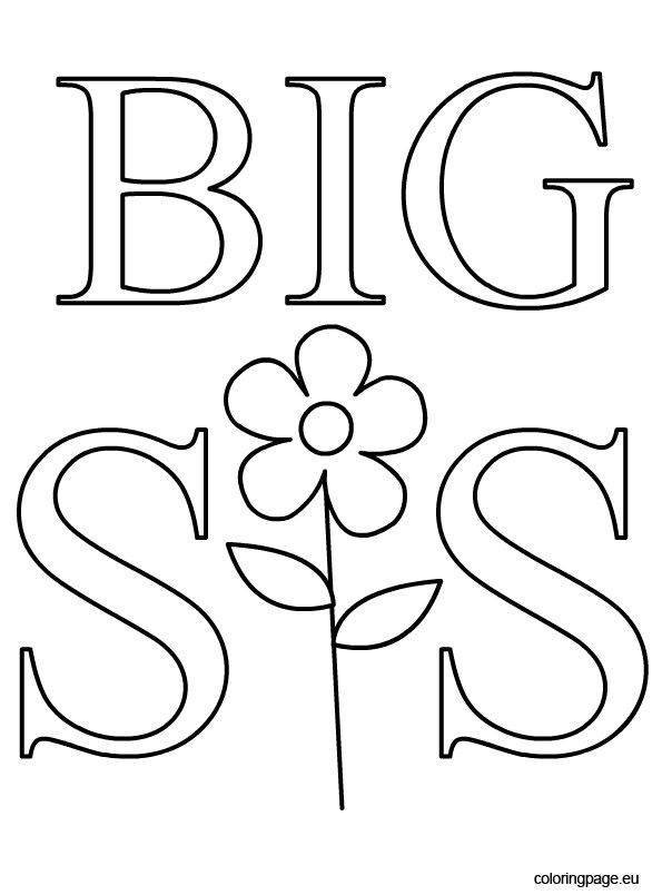 big idea coloring pages | Big Sister Coloring Page | Cricut Crafts | Coloring pages ...