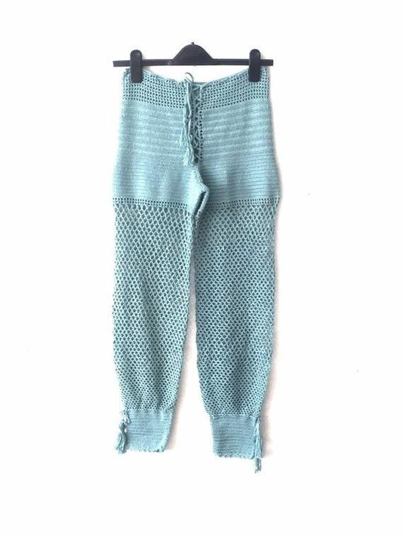 Crochet Beach Pants ,Mint Blue Crochet Pants ,Yoga Pants , Womens Swimwear Festival Pants Boho Beach Pant / Travel Gifts / For Her