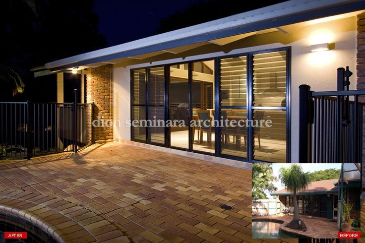 This Carina contemporary home renovation included contemporary additions to a brick home, including new entry, deck & entertaining areas.  The concept revolved around a desire to capture the views, ensure spaces are as open as possible without limiting the practicality of each space. Also linking the internal areas to the external poolside and new deck area at the front of the home.