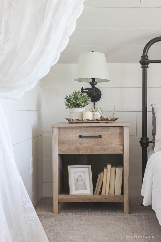 pretty bedroom & night stand - farmhouse touches