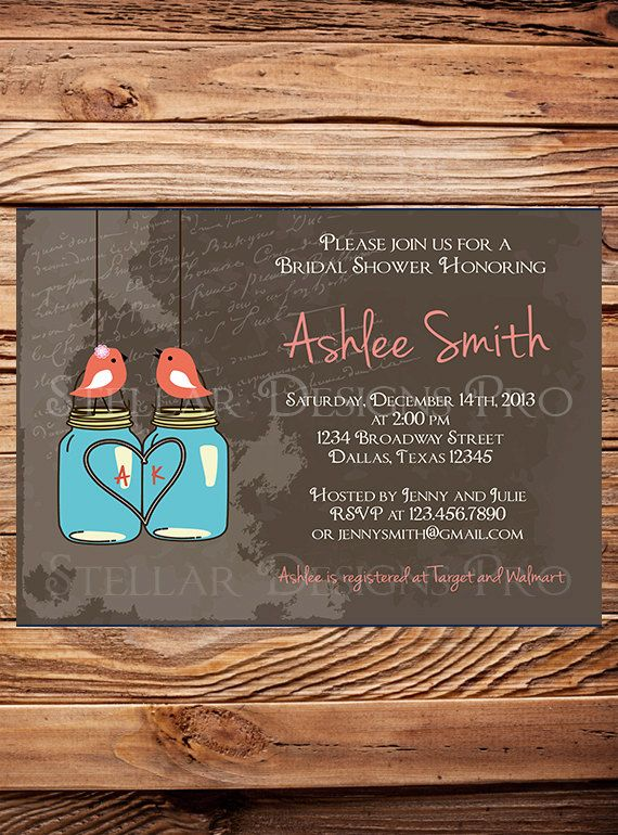 Birds and Mason Jars Bridal Shower Invitation by StellarDesignsPro