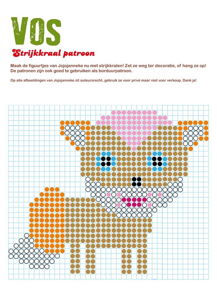 strijkkraal patroon vos, gratis strijkkraal patronen van de figuurtjes van Jojojanneke