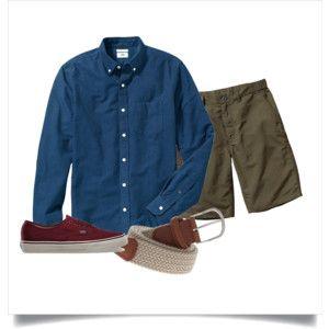 Polyvore: Navy OCBD, olive shorts, beige belt, burgundy Vans.