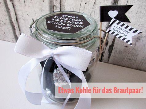 """#Geschenkidee zur #Hochzeit - etwas """"Kohle"""" im Glas mit #Freebie!"""
