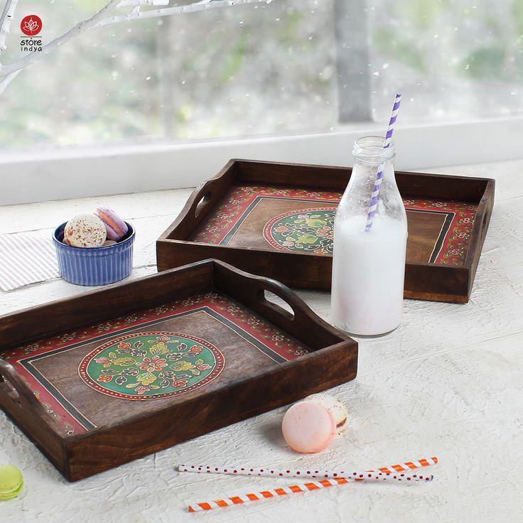 amazon.ca | Store Indya | Set of 2 Handmade Tray Natural Painting Breakfast Trays Wooden Serving Platter for Tea Snack Desert Kitchen Dining Parties Serveware Accessories #CyberMonday #BlackFriday #Thanksgiving #HomeDecor #Handicraft #Handmade #Platter #Decorative #Kitchen #Accessory #BedandBreakfast #Dinner #Lunch #Tea #Hightea #Home #Family #Christmas #MerryChristmas #Gift #Gifting