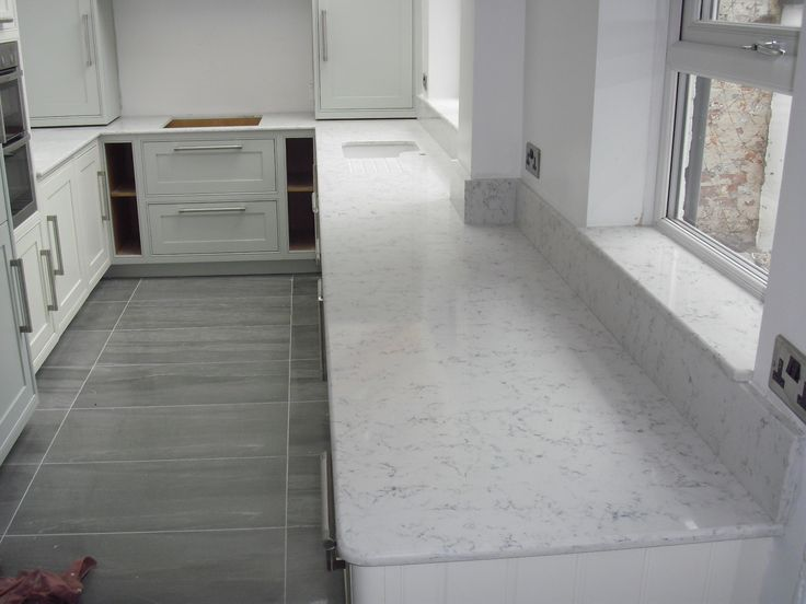 Silestone Quartz Worktops In Lyra 20mm Thick With Demi Bullnose Edge Faux Marble Quartz