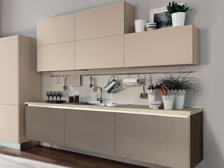 Wooden fitted kitchen without handles Essenza Collection by Cucine Lube