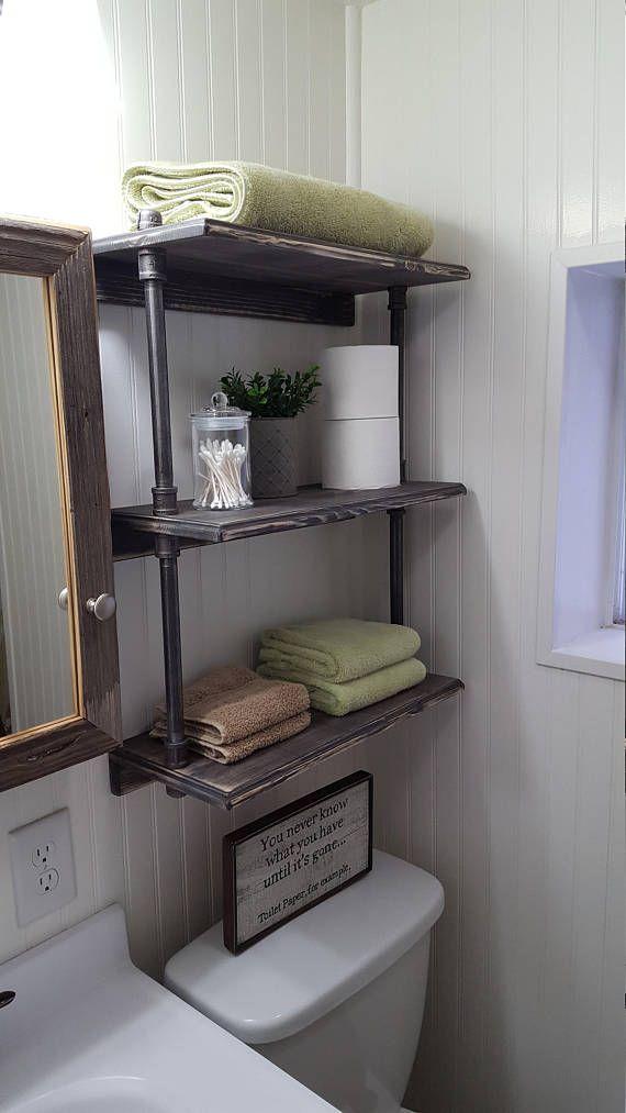 Rustic Farmhouse Bathroom Shelves Over The Toilet Shelves Rustic