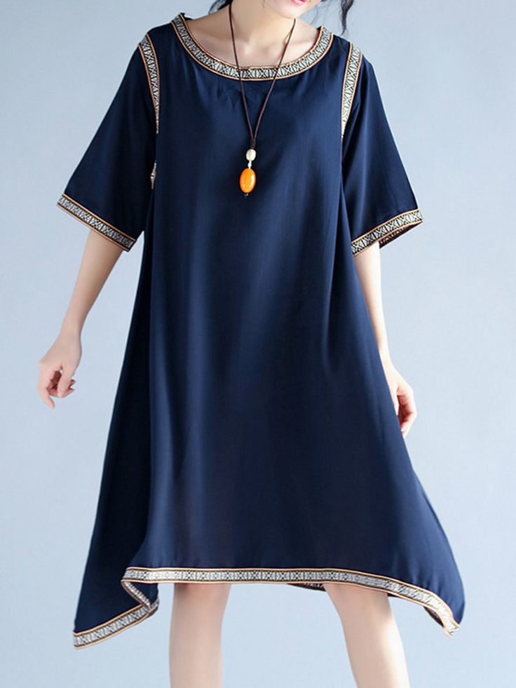 Vintage Women Irregular Hem Half Sleeve Loose Patchwork Dresses