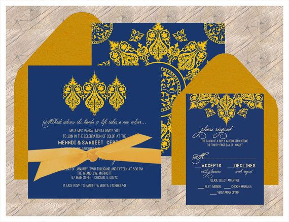 Indian Wedding Invitation: A Royal Impression - Navy & Gold - Inspired by Intricate Carvings