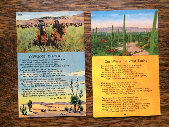 2 Vintage Linen Postcards~Cowboy's Prayer~Out Where the West Begins~Unused~Cactus Horses Poem~Western~1950's Ephemera~Not Posted~Desert