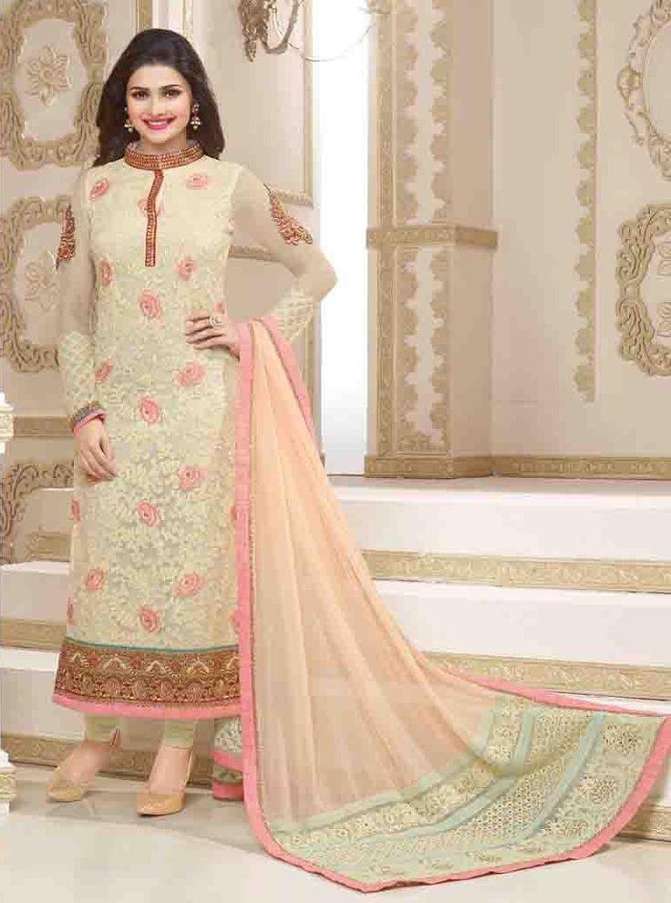 Prachi Desai Georgette Machine Work Beige Semi Stitched Straight Suit - 130M