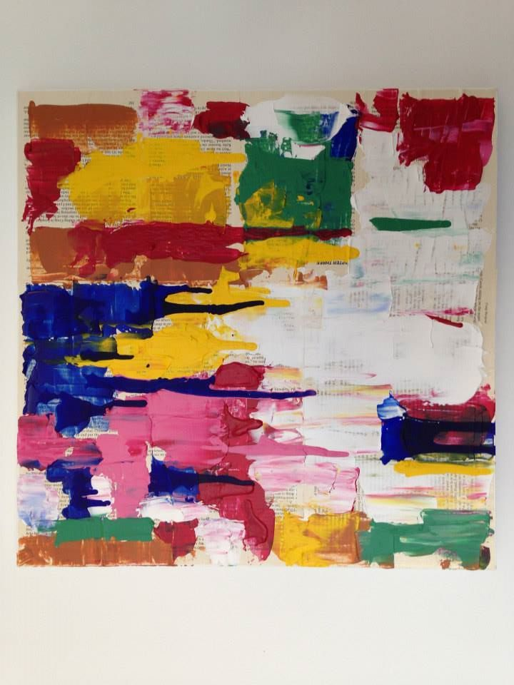 Abstract Art Painting (Daniela Kiss - A Field of Colour 46X46cm Acrylic on Canvas)